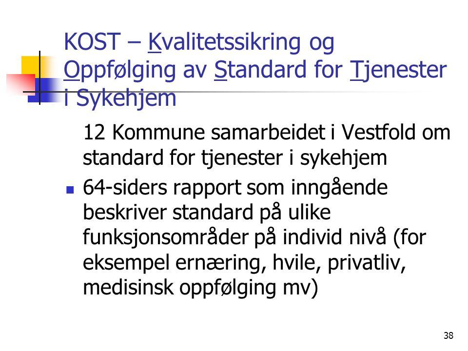 KOST – Kvalitetssikring og Oppfølging av Standard for Tjenester i Sykehjem 12 Kommune samarbeidet i Vestfold om standard for tjenester i sykehjem 64-s