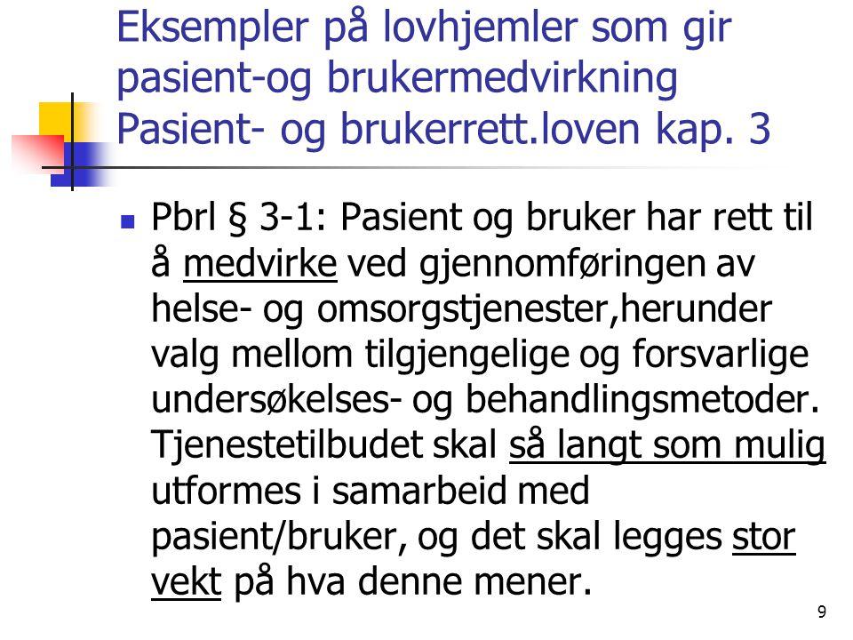 Eksempler på lovhjemler som gir pasient-og brukermedvirkning Pasient- og brukerrett.loven kap. 3 Pbrl § 3-1: Pasient og bruker har rett til å medvirke