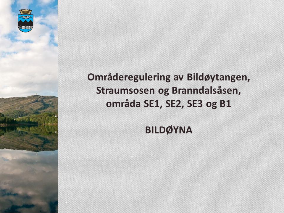 Områderegulering av Bildøytangen, Straumsosen og Branndalsåsen, områda SE1, SE2, SE3 og B1 BILDØYNA