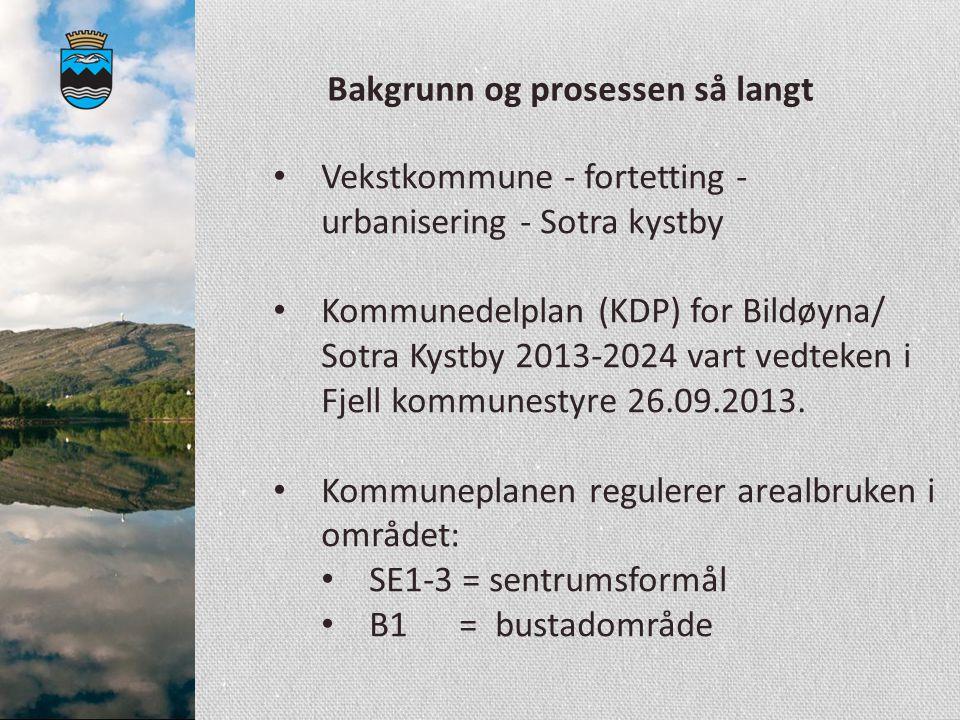 Bakgrunn og prosessen så langt Vekstkommune - fortetting - urbanisering - Sotra kystby Kommunedelplan (KDP) for Bildøyna/ Sotra Kystby 2013-2024 vart