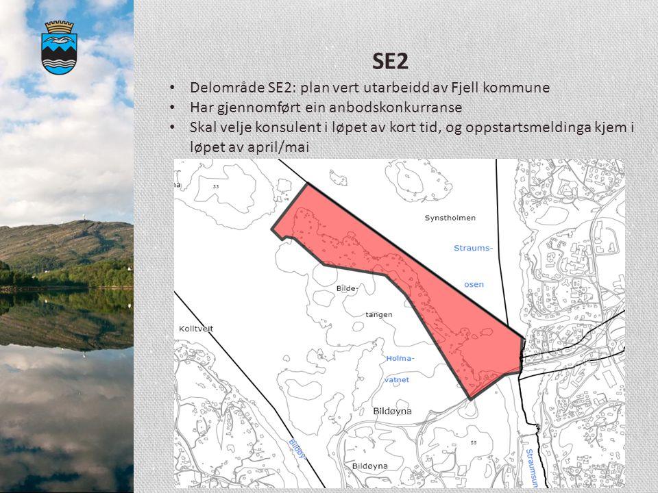 SE2 Delområde SE2: plan vert utarbeidd av Fjell kommune Har gjennomført ein anbodskonkurranse Skal velje konsulent i løpet av kort tid, og oppstartsme