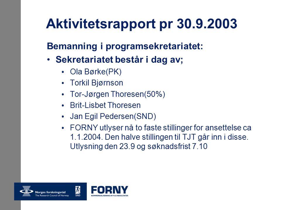 Aktivitetsrapport pr 30.9.2003 Bemanning i programsekretariatet: Sekretariatet består i dag av; Ola Børke(PK) Torkil Bjørnson Tor-Jørgen Thoresen(50%) Brit-Lisbet Thoresen Jan Egil Pedersen(SND) FORNY utlyser nå to faste stillinger for ansettelse ca 1.1.2004.