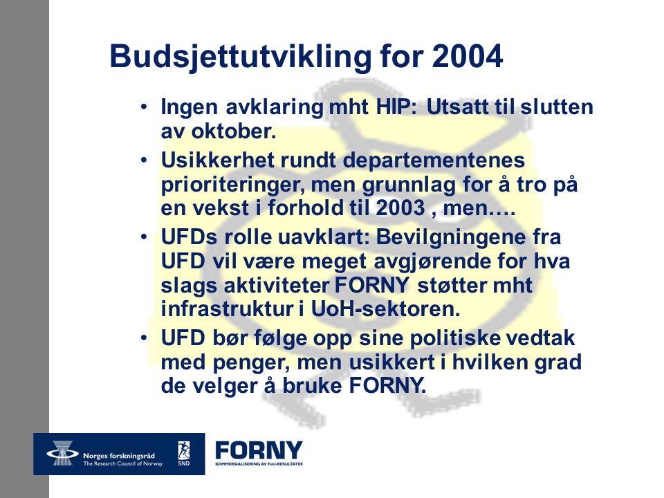 Budsjettutvikling for 2004 Ingen avklaring mht HIP: Utsatt til slutten av oktober.