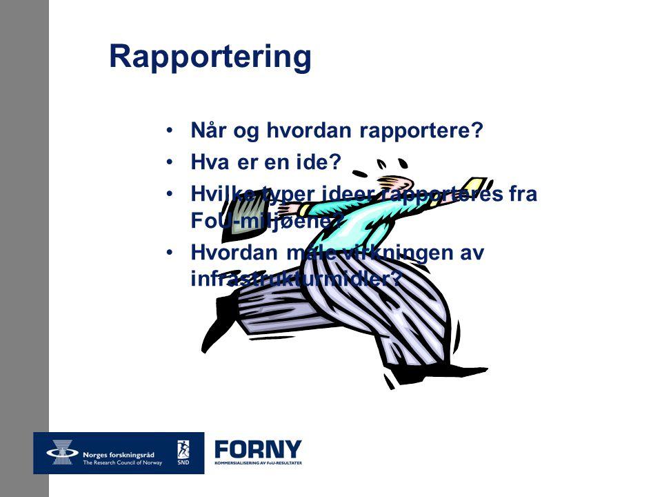 Rapportering Når og hvordan rapportere. Hva er en ide.