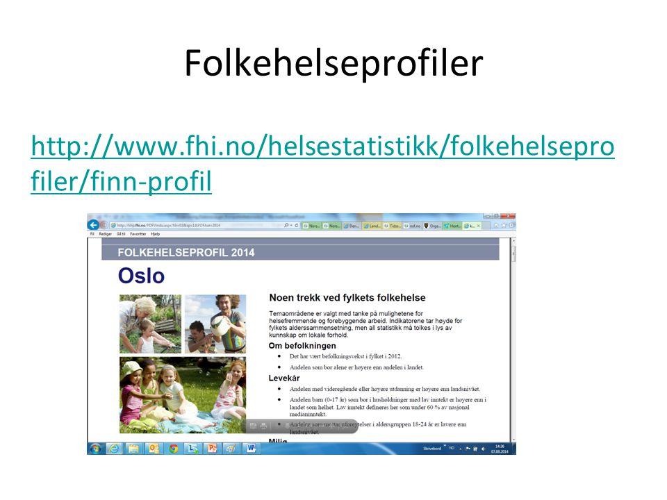 Folkehelseprofiler http://www.fhi.no/helsestatistikk/folkehelsepro filer/finn-profil