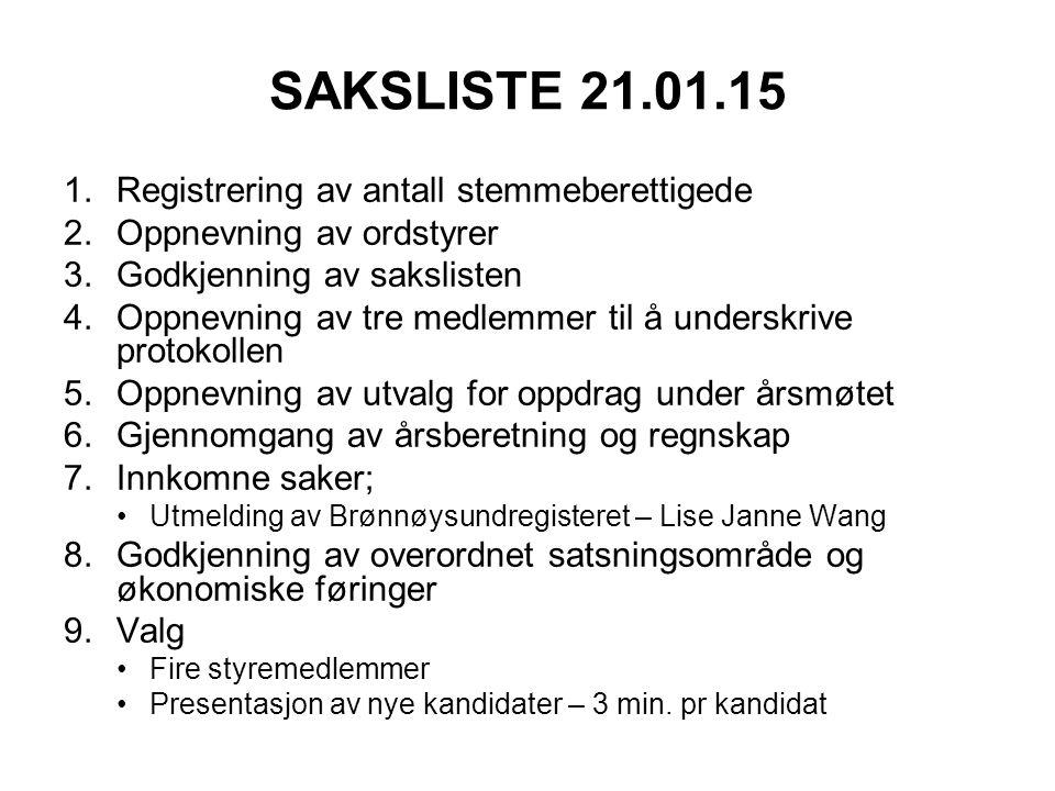 SAKSLISTE 21.01.15 1.Registrering av antall stemmeberettigede 2.Oppnevning av ordstyrer 3.Godkjenning av sakslisten 4.Oppnevning av tre medlemmer til
