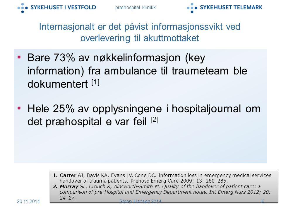 præhospital klinikk Internasjonalt er det påvist informasjonssvikt ved overlevering til akuttmottaket Bare 73% av nøkkelinformasjon (key information) fra ambulance til traumeteam ble dokumentert [1] Hele 25% av opplysningene i hospitaljournal om det præhospital e var feil [2] 1.Carter AJ, Davis KA, Evans LV, Cone DC.