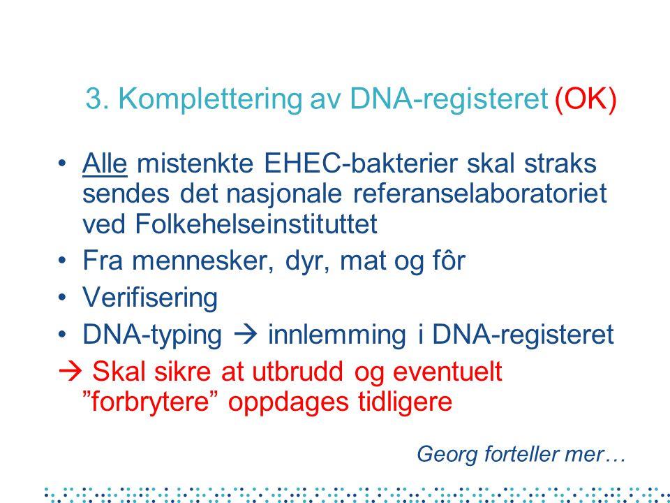 3. Komplettering av DNA-registeret (OK) Alle mistenkte EHEC-bakterier skal straks sendes det nasjonale referanselaboratoriet ved Folkehelseinstituttet