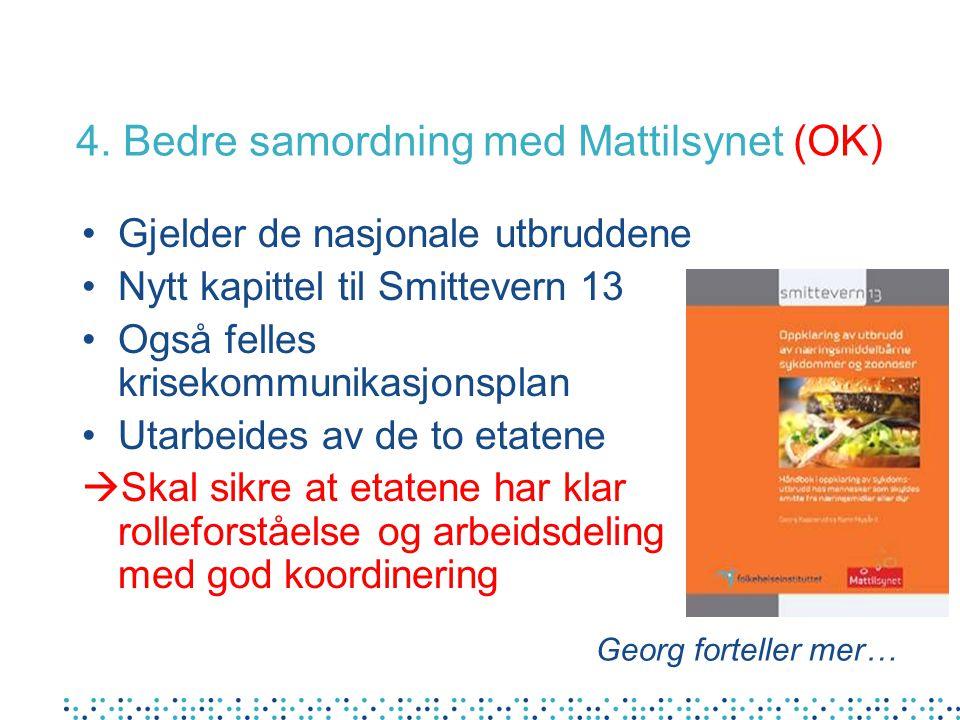 4. Bedre samordning med Mattilsynet (OK) Gjelder de nasjonale utbruddene Nytt kapittel til Smittevern 13 Også felles krisekommunikasjonsplan Utarbeide