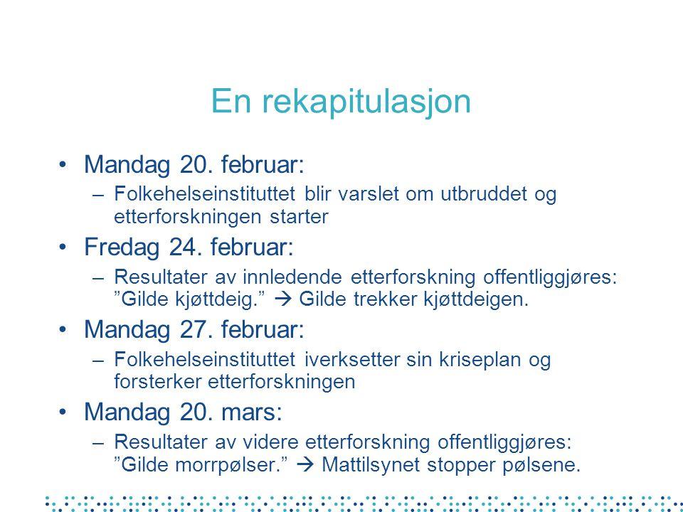 En rekapitulasjon Mandag 20. februar: –Folkehelseinstituttet blir varslet om utbruddet og etterforskningen starter Fredag 24. februar: –Resultater av