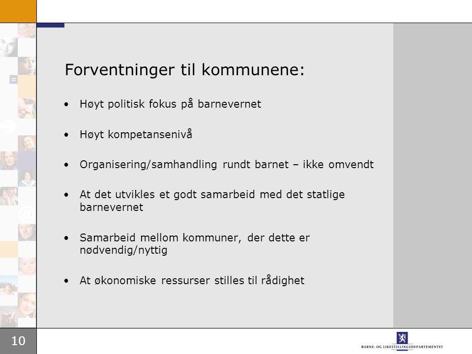 10 Forventninger til kommunene: Høyt politisk fokus på barnevernet Høyt kompetansenivå Organisering/samhandling rundt barnet – ikke omvendt At det utv
