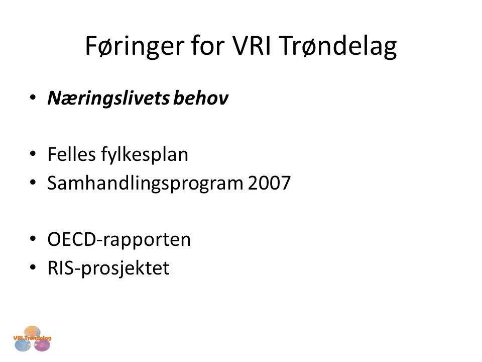 Føringer for VRI Trøndelag Næringslivets behov Felles fylkesplan Samhandlingsprogram 2007 OECD-rapporten RIS-prosjektet