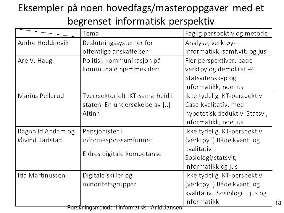 Forskningsmetoder i informatikk Arild Jansen 18 Eksempler på noen hovedfags/masteroppgaver med et begrenset informatisk perspektiv
