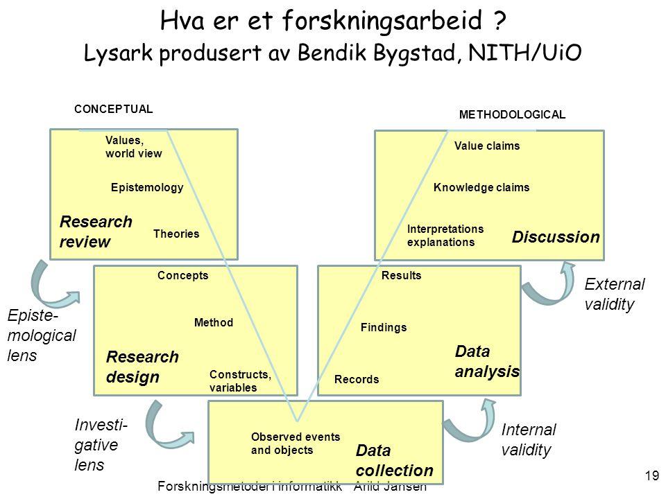 Forskningsmetoder i informatikk Arild Jansen 19 Hva er et forskningsarbeid .