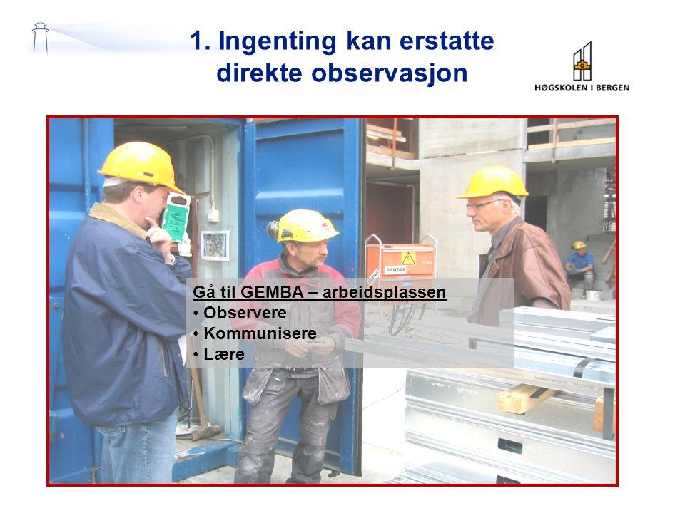 1. Ingenting kan erstatte direkte observasjon Gå til GEMBA – arbeidsplassen Observere Kommunisere Lære