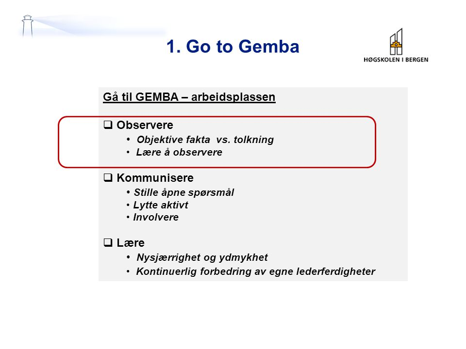 Gå til GEMBA – arbeidsplassen  Observere Objektive fakta vs.