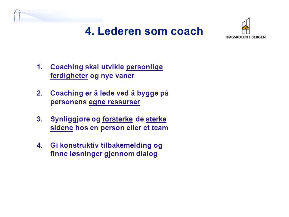 4. Lederen som coach 1.Coaching skal utvikle personlige ferdigheter og nye vaner 2.Coaching er å lede ved å bygge på personens egne ressurser 3.Synlig