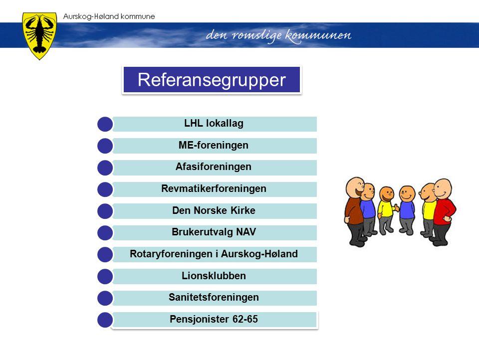 Referansegrupper LHL lokallag ME-foreningen Afasiforeningen Revmatikerforeningen Den Norske Kirke Brukerutvalg NAV Rotaryforeningen i Aurskog-Høland L