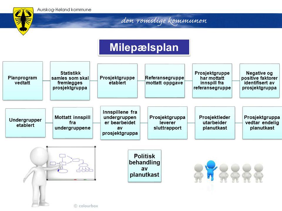 Planprogram vedtatt Statistikk samles som skal fremlegges prosjektgruppa Prosjektgruppe etablert Referansegruppe mottatt oppgave Prosjektgruppe har mo