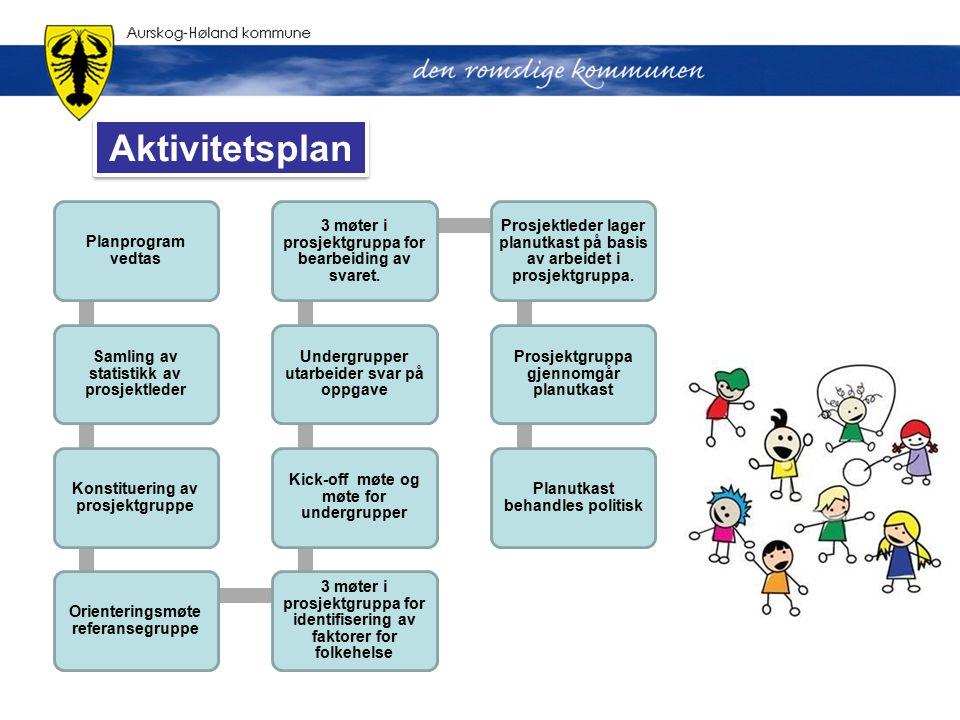 Planprogram vedtas Samling av statistikk av prosjektleder Konstituering av prosjektgruppe Orienteringsmøte referansegruppe 3 møter i prosjektgruppa fo