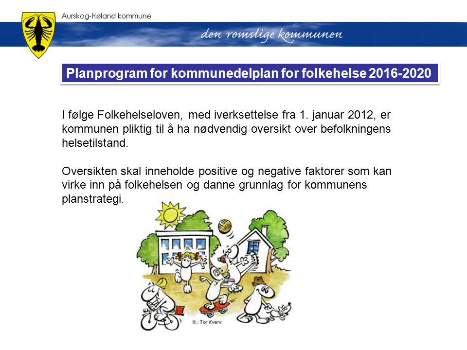 I følge Folkehelseloven, med iverksettelse fra 1. januar 2012, er kommunen pliktig til å ha nødvendig oversikt over befolkningens helsetilstand. Overs