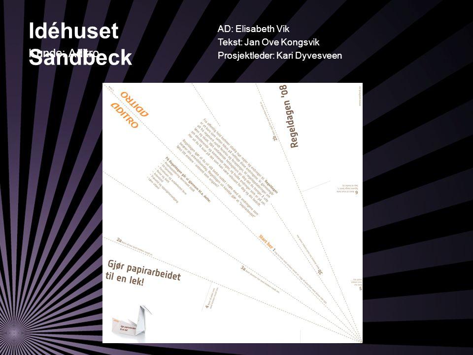 Idéhuset Sandbeck AD: Elisabeth Vik Tekst: Jan Ove Kongsvik Prosjektleder: Kari Dyvesveen Kunde: Aditro