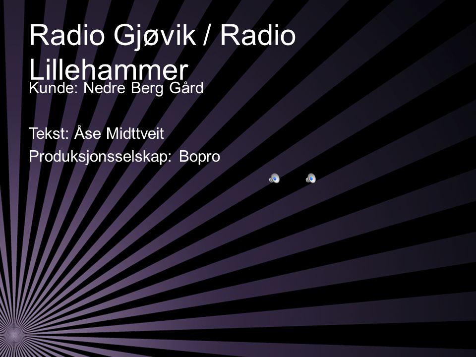 Radio Gjøvik / Radio Lillehammer Kunde: Nedre Berg Gård Tekst: Åse Midttveit Produksjonsselskap: Bopro