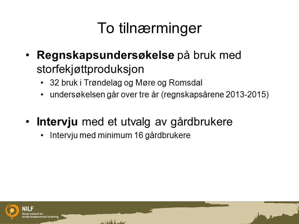 To tilnærminger Regnskapsundersøkelse på bruk med storfekjøttproduksjon 32 bruk i Trøndelag og Møre og Romsdal undersøkelsen går over tre år (regnskapsårene 2013-2015) Intervju med et utvalg av gårdbrukere Intervju med minimum 16 gårdbrukere