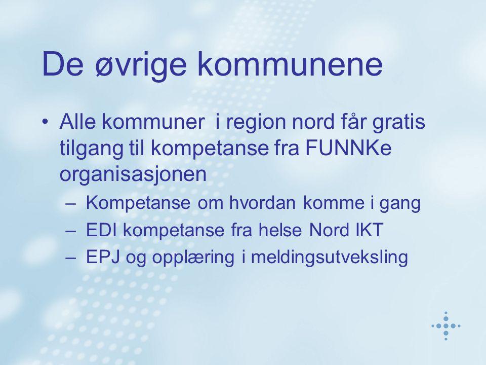 De øvrige kommunene Alle kommuner i region nord får gratis tilgang til kompetanse fra FUNNKe organisasjonen – Kompetanse om hvordan komme i gang – EDI kompetanse fra helse Nord IKT – EPJ og opplæring i meldingsutveksling