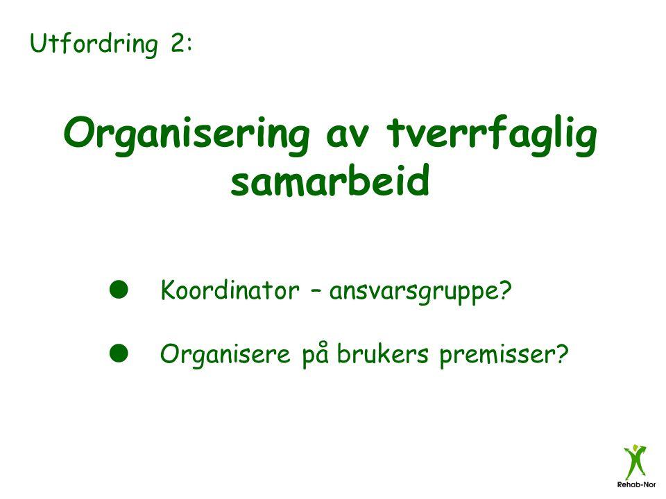 Utfordring 2: Organisering av tverrfaglig samarbeid  Koordinator – ansvarsgruppe?  Organisere på brukers premisser?