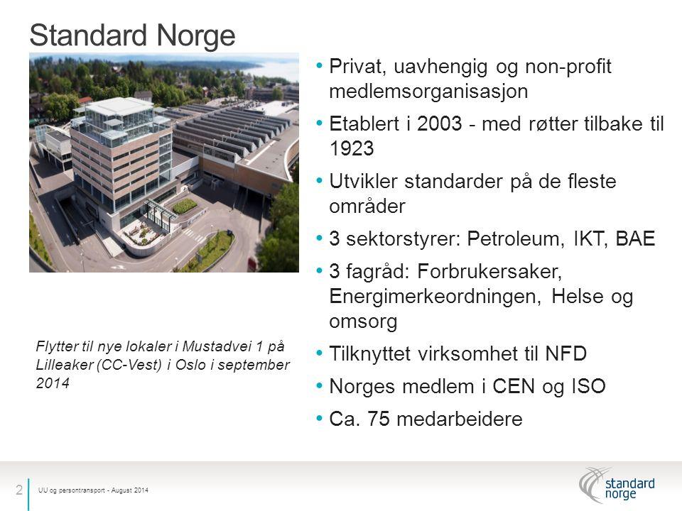 2 Standard Norge Privat, uavhengig og non-profit medlemsorganisasjon Etablert i 2003 - med røtter tilbake til 1923 Utvikler standarder på de fleste områder 3 sektorstyrer: Petroleum, IKT, BAE 3 fagråd: Forbrukersaker, Energimerkeordningen, Helse og omsorg Tilknyttet virksomhet til NFD Norges medlem i CEN og ISO Ca.