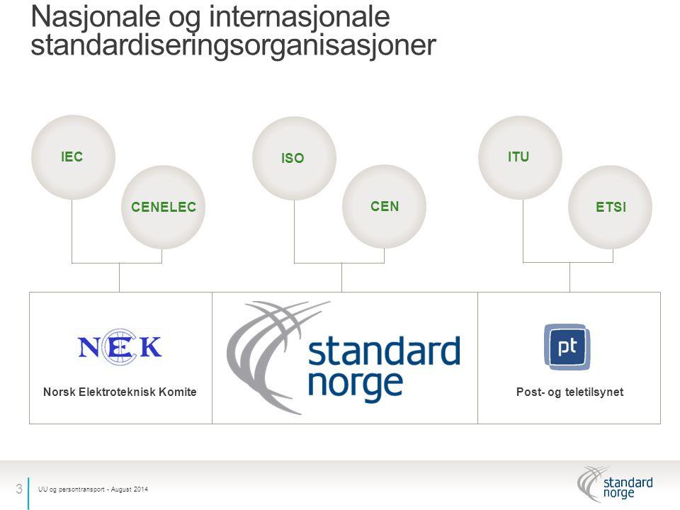 3 Nasjonale og internasjonale standardiseringsorganisasjoner UU og persontransport - August 2014 Norsk Elektroteknisk KomitePost- og teletilsynet IEC CENELEC ISO CEN ITU ETSI