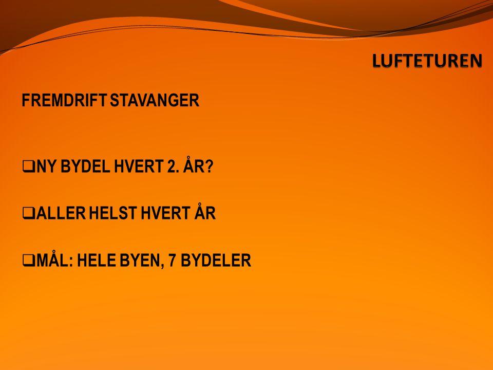 FREMDRIFT STAVANGER  NY BYDEL HVERT 2. ÅR  ALLER HELST HVERT ÅR  MÅL: HELE BYEN, 7 BYDELER