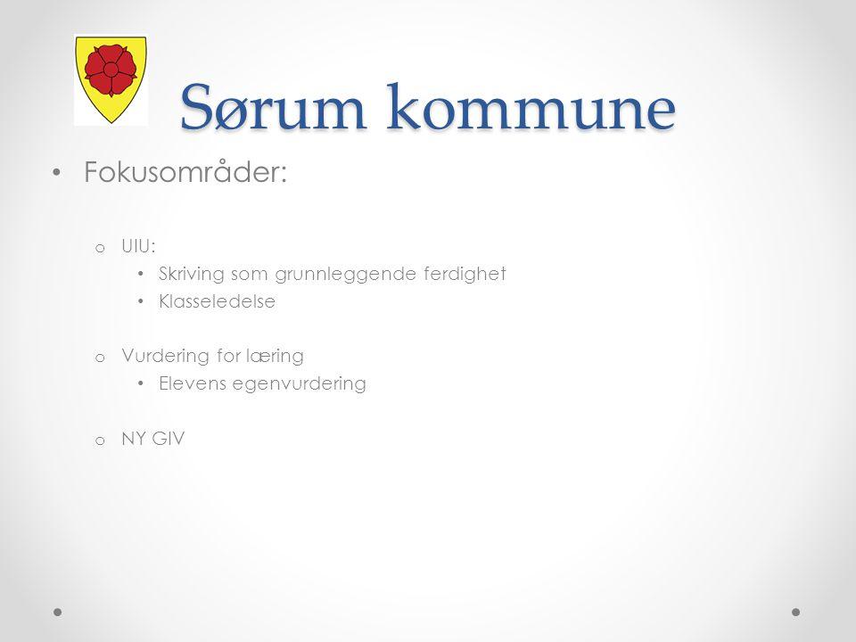 Sørum kommune Fokusområder: o UIU: Skriving som grunnleggende ferdighet Klasseledelse o Vurdering for læring Elevens egenvurdering o NY GIV