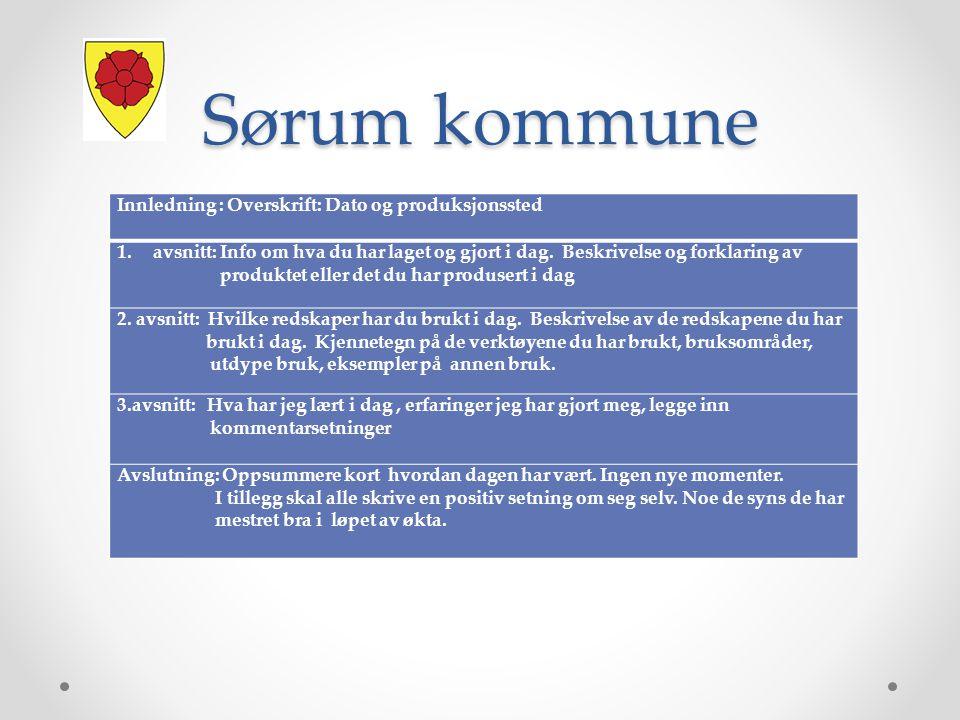 Sørum kommune Innledning : Overskrift: Dato og produksjonssted 1.avsnitt: Info om hva du har laget og gjort i dag.