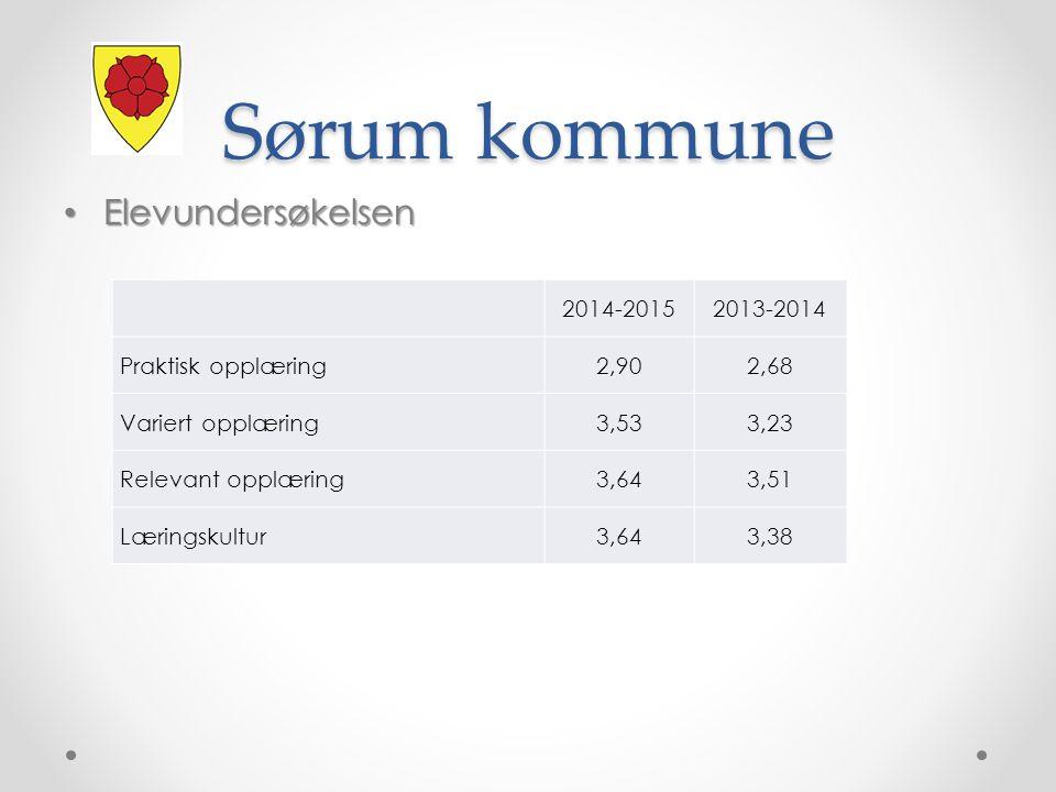 Sørum kommune Elevundersøkelsen Elevundersøkelsen 2014-20152013-2014 Praktisk opplæring2,902,68 Variert opplæring3,533,23 Relevant opplæring3,643,51 Læringskultur3,643,38