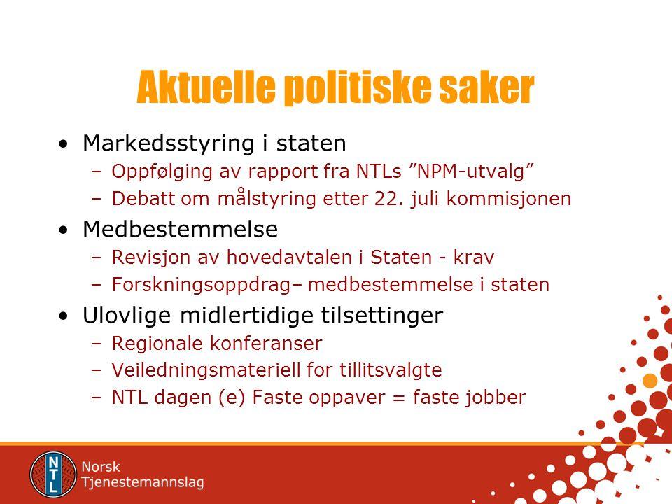 Aktuelle politiske saker Markedsstyring i staten –Oppfølging av rapport fra NTLs NPM-utvalg –Debatt om målstyring etter 22.