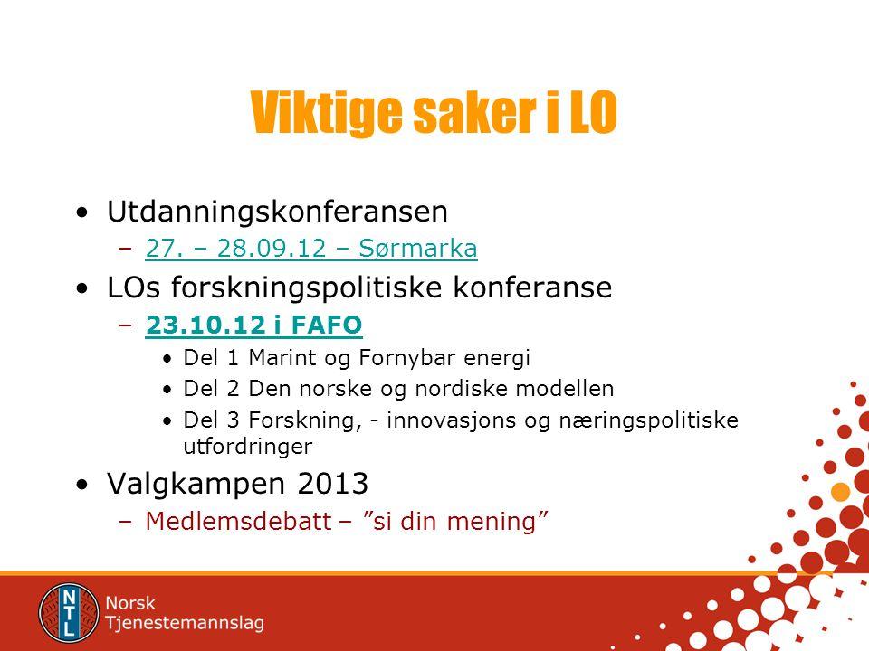Viktige saker i LO Utdanningskonferansen –27. – 28.09.12 – Sørmarka27.