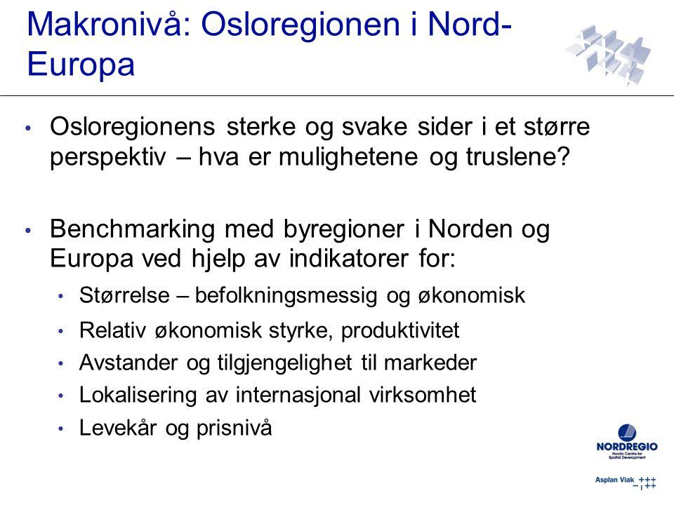 Osloregionens sterke og svake sider i et større perspektiv – hva er mulighetene og truslene? Benchmarking med byregioner i Norden og Europa ved hjelp