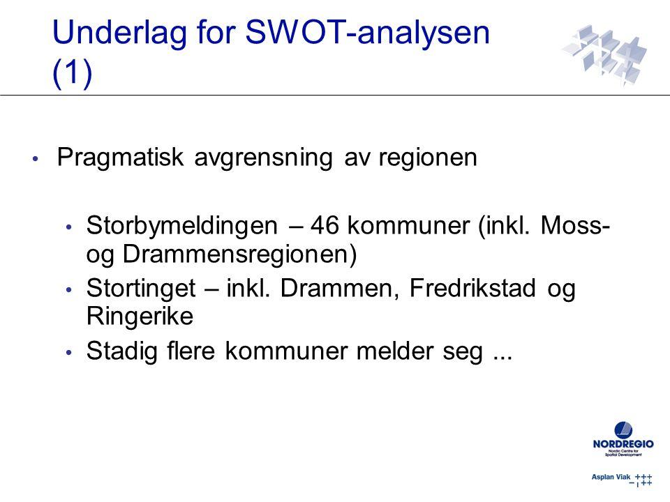 Underlag for SWOT-analysen (1) Pragmatisk avgrensning av regionen Storbymeldingen – 46 kommuner (inkl. Moss- og Drammensregionen) Stortinget – inkl. D