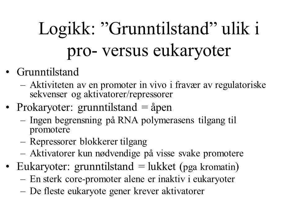 """Logikk: """"Grunntilstand"""" ulik i pro- versus eukaryoter Grunntilstand –Aktiviteten av en promoter in vivo i fravær av regulatoriske sekvenser og aktivat"""