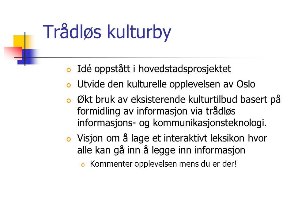 Trådløs kulturby Idé oppstått i hovedstadsprosjektet Utvide den kulturelle opplevelsen av Oslo Økt bruk av eksisterende kulturtilbud basert på formidling av informasjon via trådløs informasjons- og kommunikasjonsteknologi.