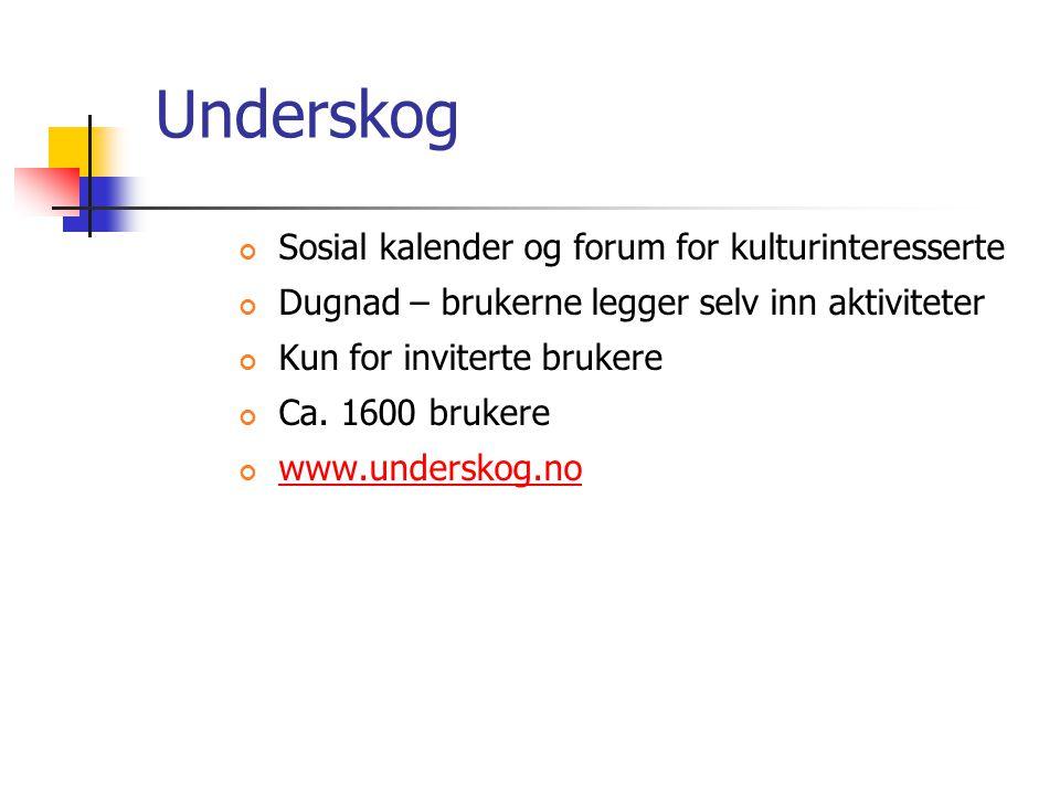 Underskog Sosial kalender og forum for kulturinteresserte Dugnad – brukerne legger selv inn aktiviteter Kun for inviterte brukere Ca. 1600 brukere www