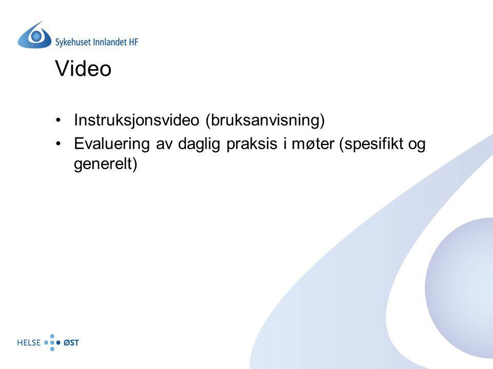 Video Instruksjonsvideo (bruksanvisning) Evaluering av daglig praksis i møter (spesifikt og generelt)