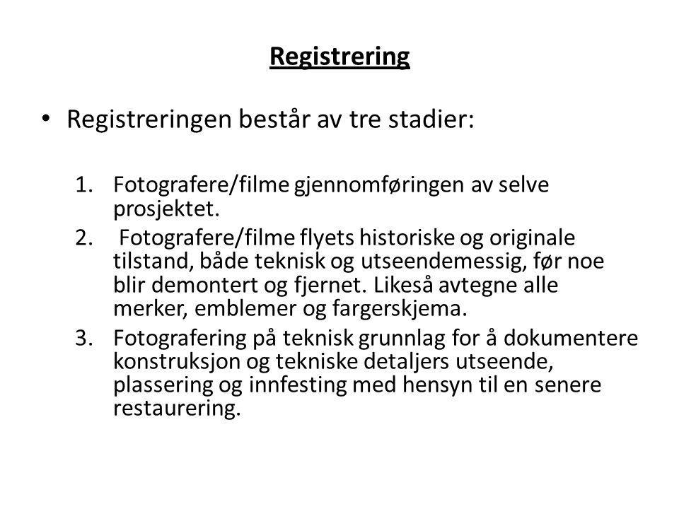 Registrering Registreringen består av tre stadier: 1.Fotografere/filme gjennomføringen av selve prosjektet. 2. Fotografere/filme flyets historiske og