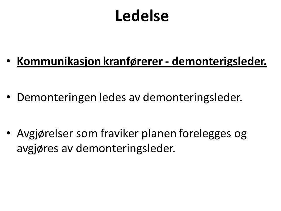 Ledelse Kommunikasjon kranførerer - demonterigsleder.