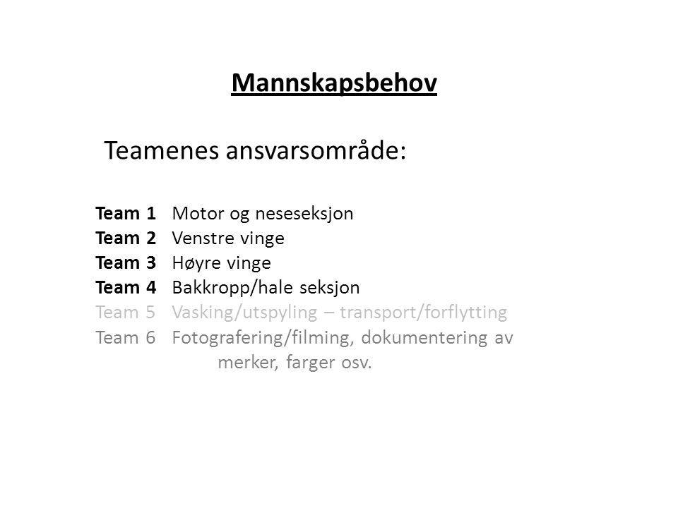 Mannskapsbehov Teamenes ansvarsområde: Team 1Motor og neseseksjon Team 2Venstre vinge Team 3Høyre vinge Team 4Bakkropp/hale seksjon Team 5Vasking/utsp