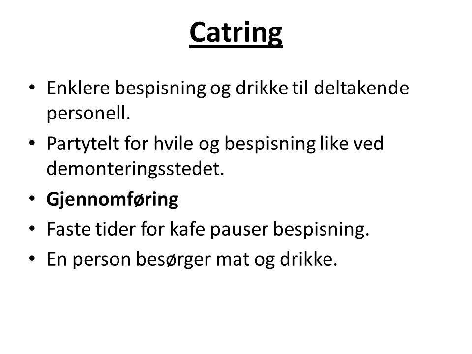 Catring Enklere bespisning og drikke til deltakende personell.