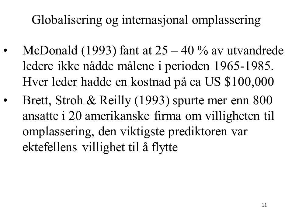 11 Globalisering og internasjonal omplassering McDonald (1993) fant at 25 – 40 % av utvandrede ledere ikke nådde målene i perioden 1965-1985. Hver led