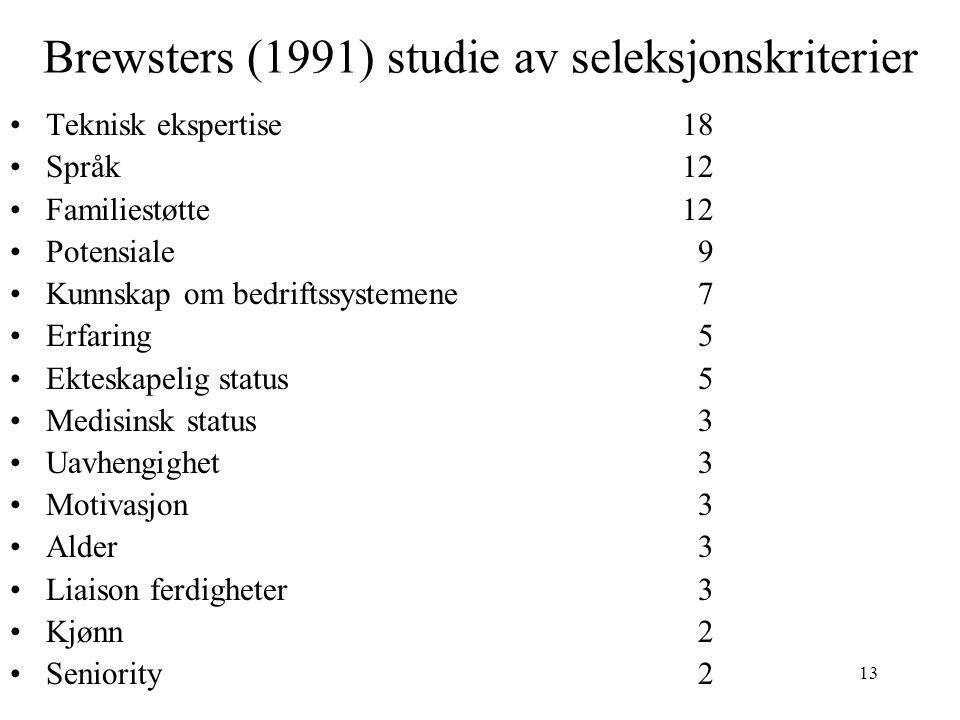13 Brewsters (1991) studie av seleksjonskriterier Teknisk ekspertise18 Språk12 Familiestøtte12 Potensiale 9 Kunnskap om bedriftssystemene 7 Erfaring 5